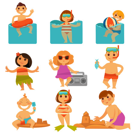 grabadora: Children relaxing in pool and sand colorful poster Vectores
