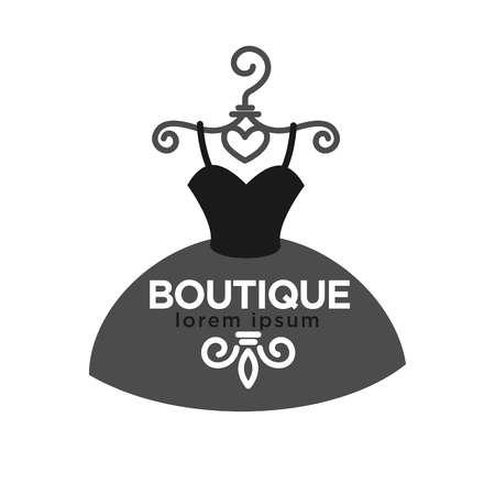 fashion dress: Fashion boutique creative emblem in form of dress