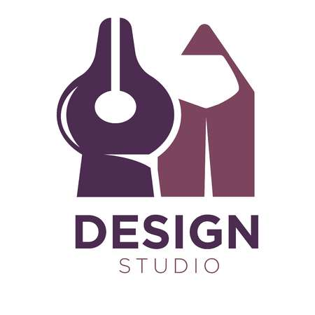 sketch: Design studio  with pencil and divider vector Illustration isolated