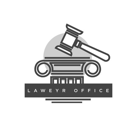 Lawyer office logotype with judges wooden hammer illustration Stock Photo