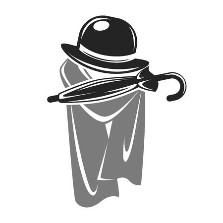Gentleman black hat and grey cape Illustration
