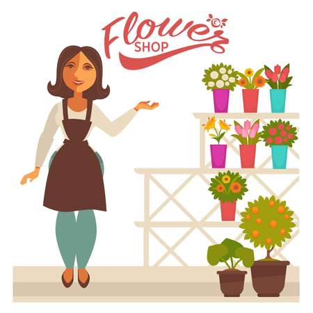 Flower shop banner with woman florist and fresh flowers in pots vector