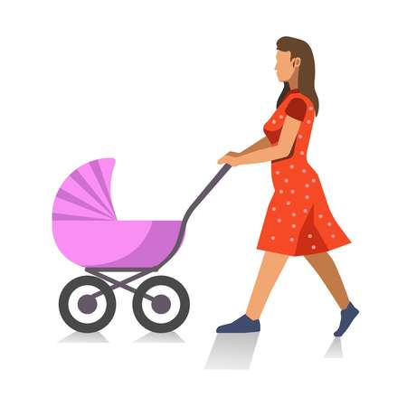 Walking mother with baby carriage isolated on white