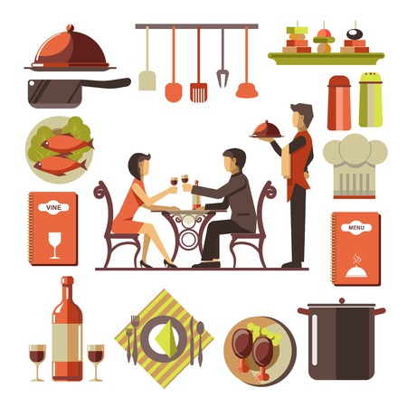 dinner date: Dating man and woman in restaurant and kitchen set around Illustration