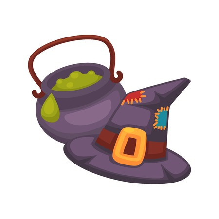 Witch violet hat and pot with porridge on white