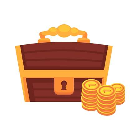 wood crate: Dower wooden chest with lock, handle and golden coins vector