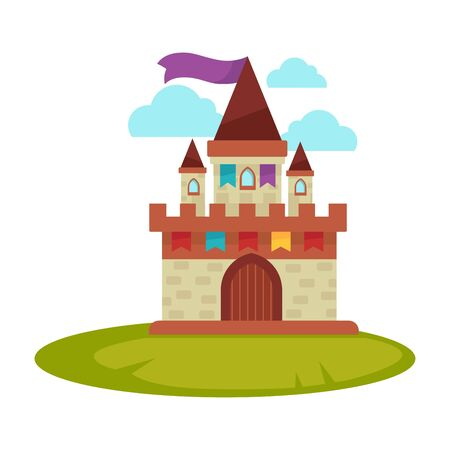 Cartoon medieval castle with high towers with flag isolated Illustration