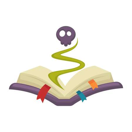 Mysterious cartoon book with skull appeared from it
