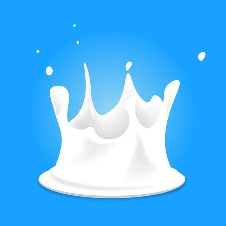 fresh milk: White milk splashes fresh organic drink on blue background