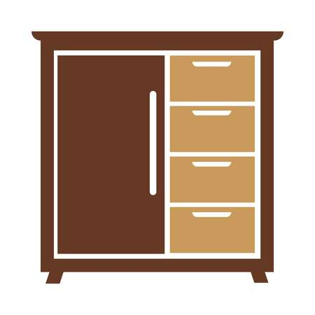 closet: Chest of drawers icon vector illustration isolated on white backdrop Illustration
