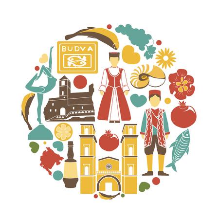 몬테네그로 문화 상징은 백색에 둥근 모양에서 놓았다