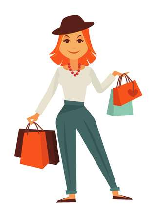 Cartoon stylish redhead female character with shopping bags Illustration