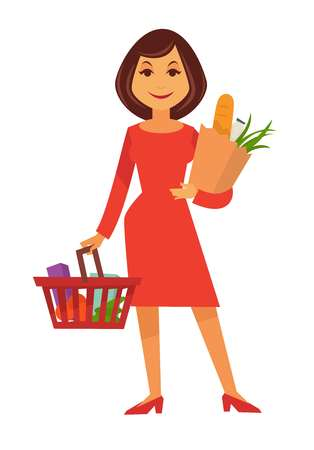 mujer en el supermercado: Cartoon woman stands with shopping basket and paper bag