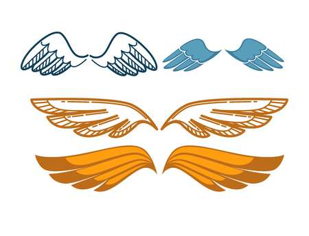 Gorgeous wings set isolated on white. Angel gold and blue wing