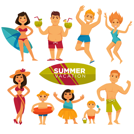 to spend the summer: People wearing swimsuits spend summer holidays. Vector colorful illustration in flat design. Illustration