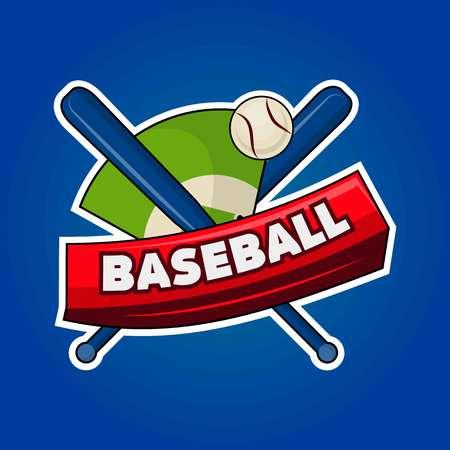 Baseball logo with equipment