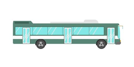 Green colored bus isolated on white