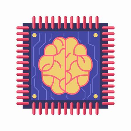 Chip with brain symbol