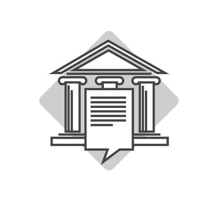 lawful: Lawyers company emblem with ancient pillars and roof
