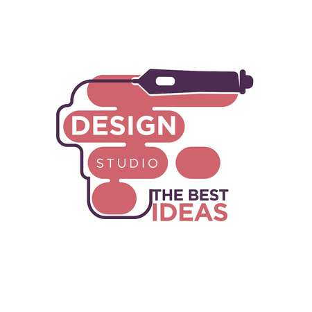 profession: Design studio colorful logo label isolated on white