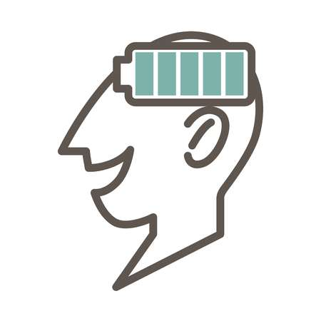 Outlined male face profile with full battery symbol