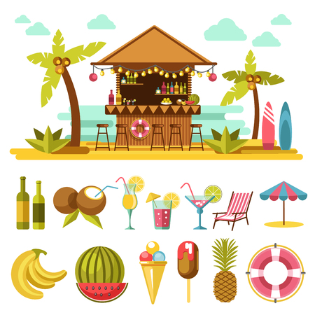 Beach entertainments and set of elements below on white