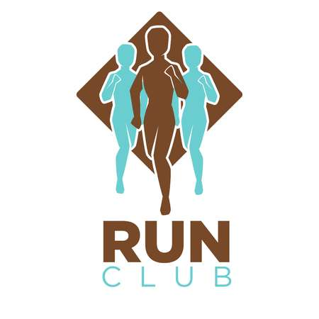 competitions: Professional run club emblem logo with men colored silhouettes