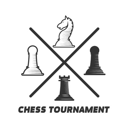 Chess tournament logotype with figures isolated on white