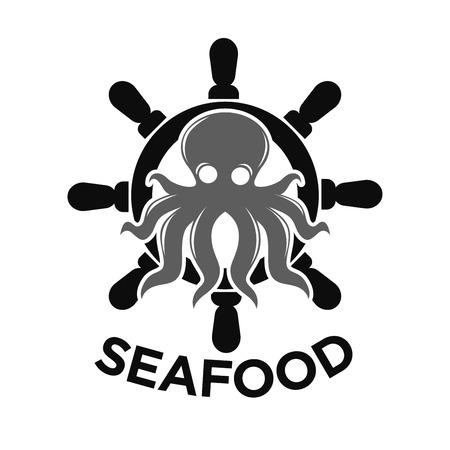 Seafood logo with helm and octopus isolated on white Illustration