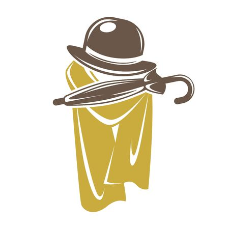 Gentleman accessory set of brown hat with umbrella and cape Illustration
