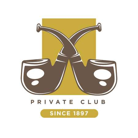 Private club logo with two crossed smoking pipes Illustration