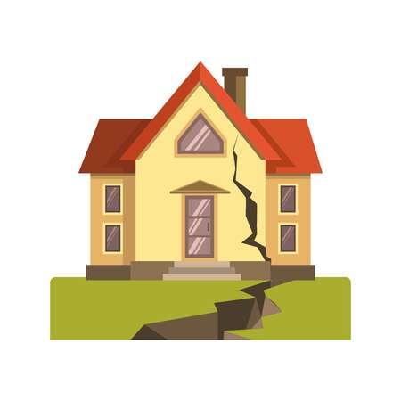 Casa incrinata nel terremoto Vettoriali