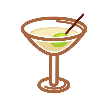 Classic cocktail with olive Illustration