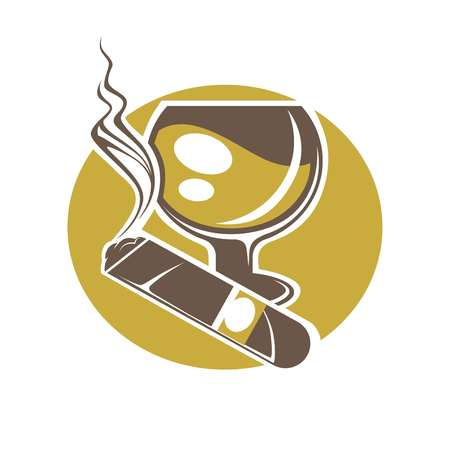 Cigar and glass for wine or whisky logotype on white Illustration