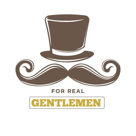 Real gentlemens club isolated vintage emblem with hat and mustache