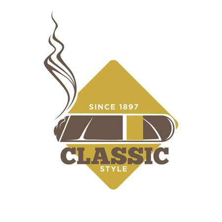 Classic style logotype with cigars against yellow rhombus