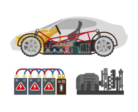 Auto inside construction scheme and its components on white