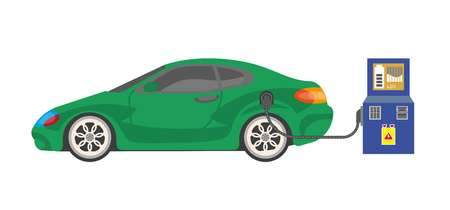 power cables: Electrocar battery charging colorful vector illustration on white