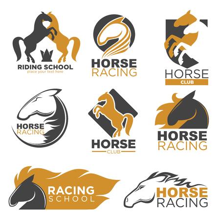Horse racing colorful logo label set isolated on white Illustration