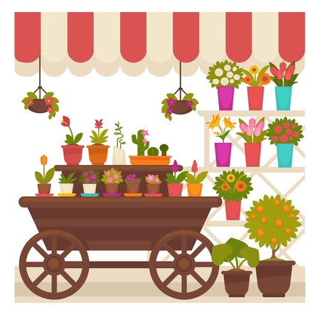 Trade tent with natural flowers in pots illustration