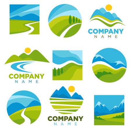 empty: Landscape logotypes set with space for company name Illustration
