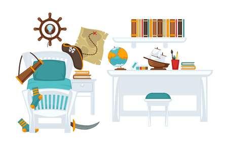 Interior of boy room Illustration