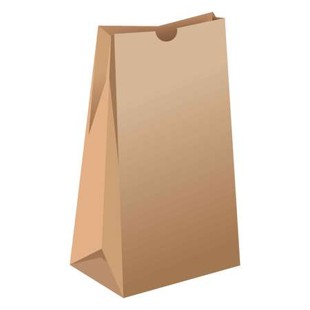 size: Brown empty paper package for grocery products illustration Illustration
