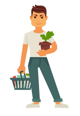 Male person holds flowerpot and cart with products