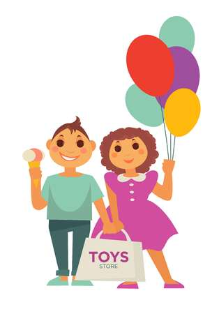 Two children with balloons, pack of toys and ice cream Illustration