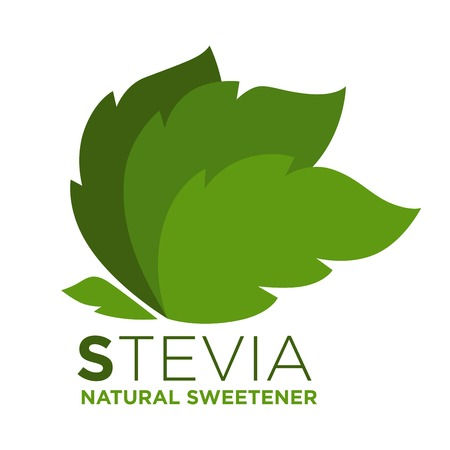 substitute: Stevia natural sweetener green leaf with inscription near, logotype design Illustration
