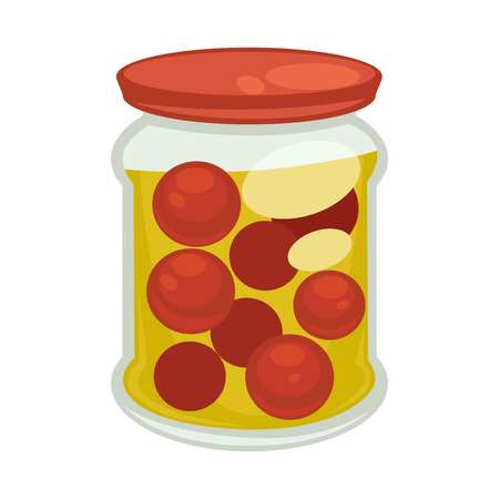 Canned cherry tomatoes in big jar isolated illustration Illustration