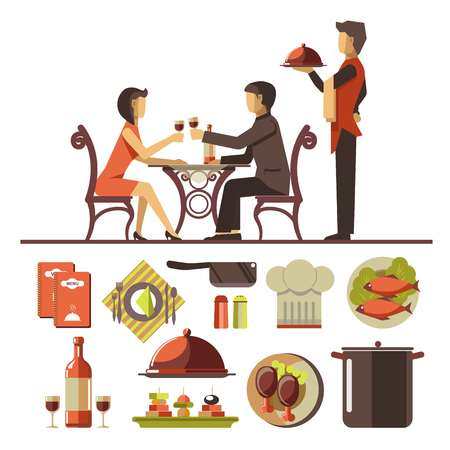 dinner date: Couple dating in restaurant and set of dishes below Illustration
