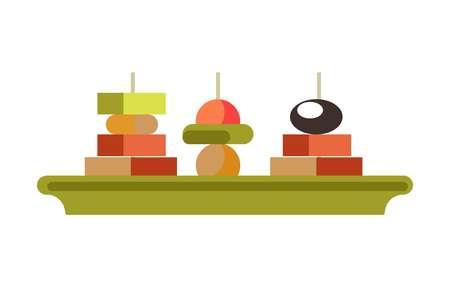 Tasty canape sandwishes on green plate isolated illustration