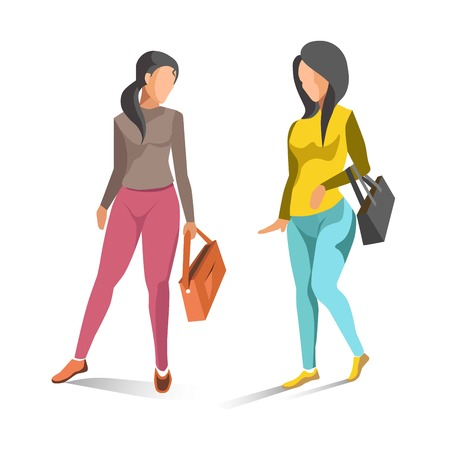 Two fashionable women isolated on white vector illustration Stock Photo